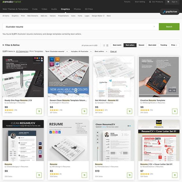 illustrator cv template GraphicRiver