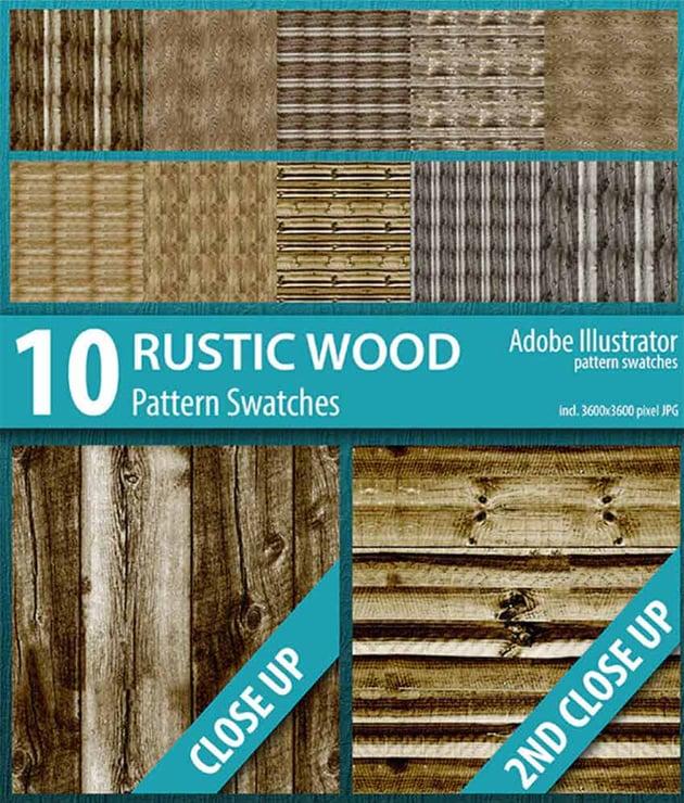 Rustic Wood Texture Illustrator Swatches (EPS, AI, JPG)
