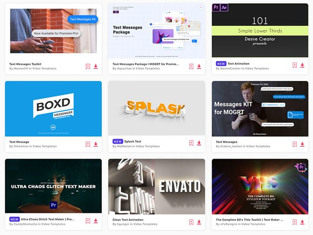 Unlimited downloads of Premiere Pro text templates with your Envato Elements subscription.