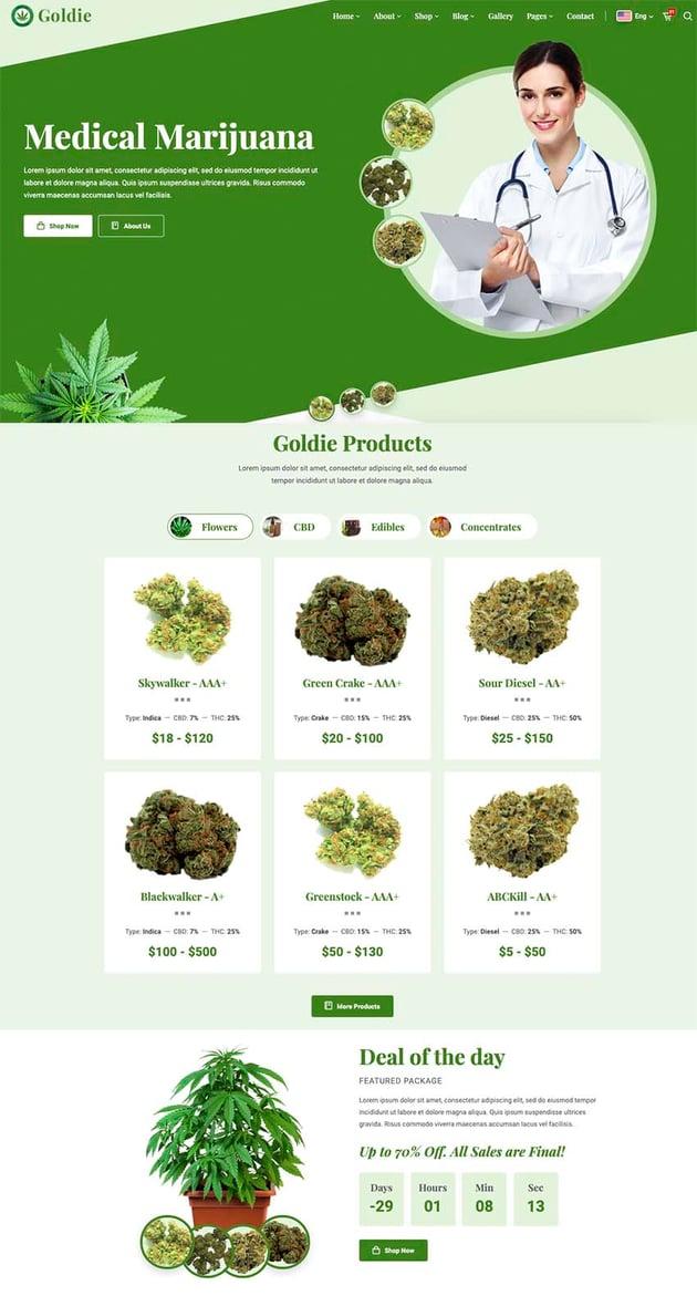 Goldie - Medical Marijuana Dispensary HTML Template