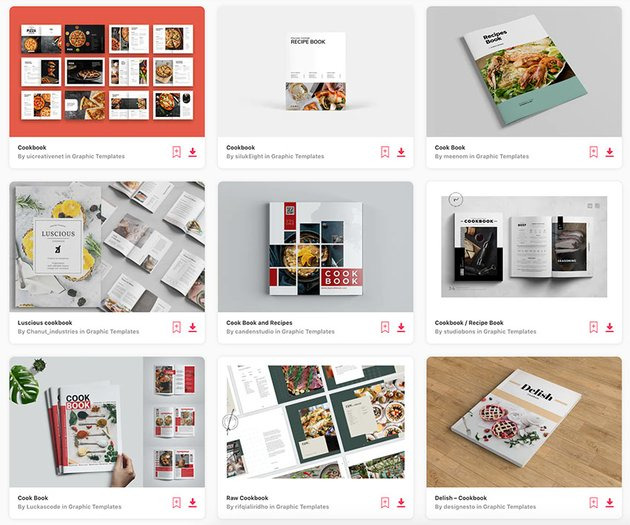 You can download unlimited recipe book templates with an Envato Elements subscription.