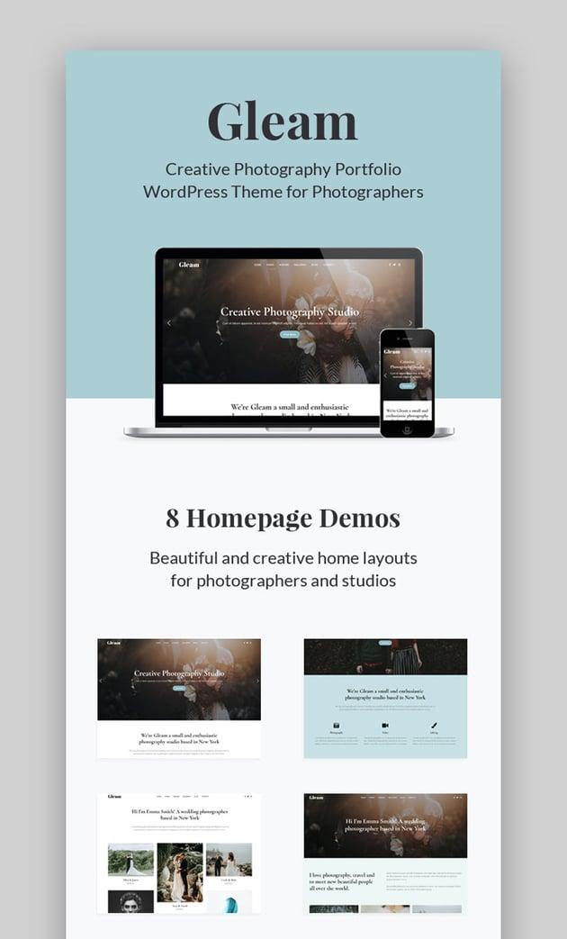 Gleam - Portfolio Photography WordPress Theme