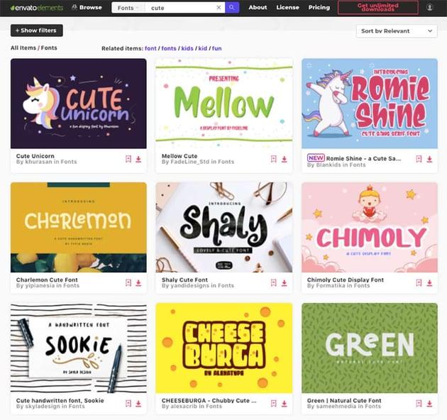 Premium cute fonts from Envato Elements