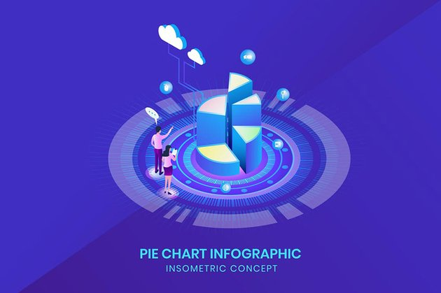 Pie Chart Infographic - Isometric Concept