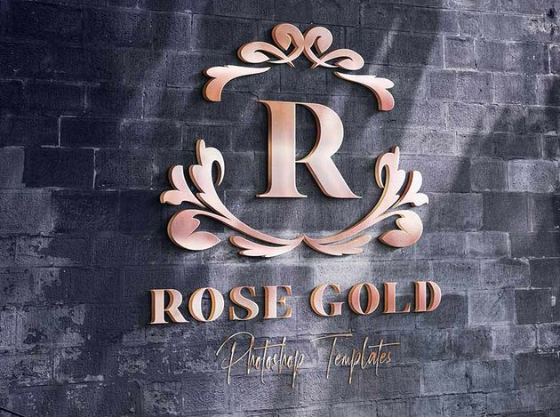 Rose Gold Logo Wall Mockups