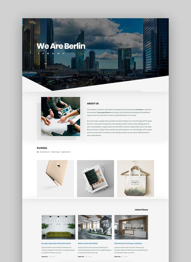Berlin - OnePage Portfolio Joomla Template