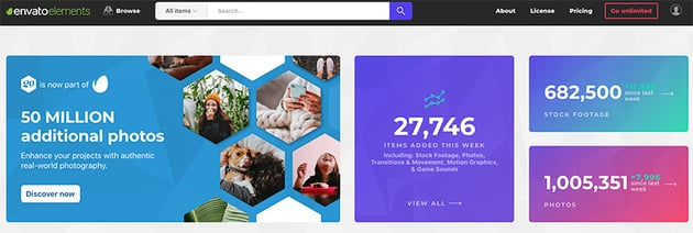 Envato Elements is a warehouse of millions of creative digital assets