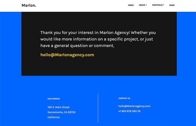 This graphic designer portfolio WordPress theme has a clear contact section.