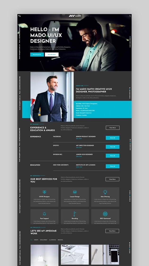 Mado - CV Resume Portfolio HTML Profile CSS Template