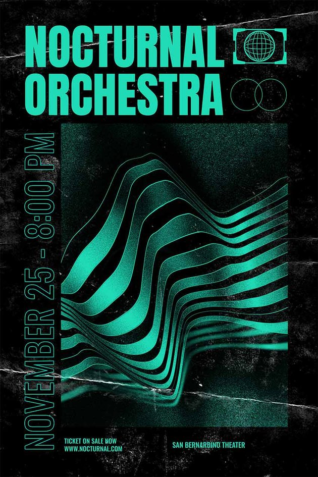 Poster Design Template with Abstract Lines