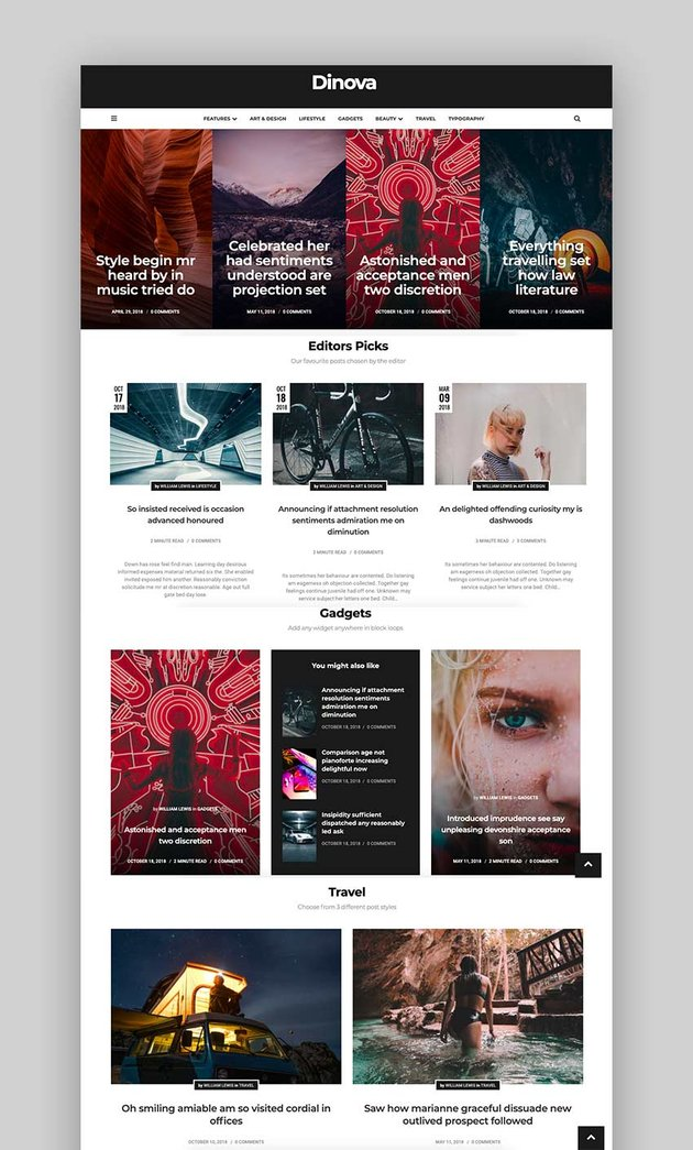 Dinova - Alternative Magazine Gutenberg Theme