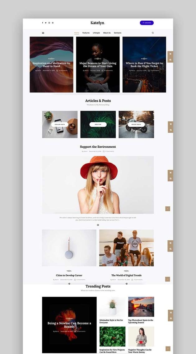 Katelyn - Creative Gutenberg Blog WordPress Theme