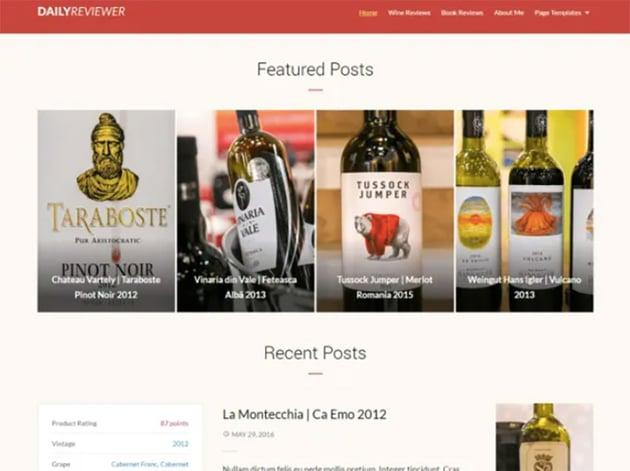 Reviewer Free WordPress Wine Theme