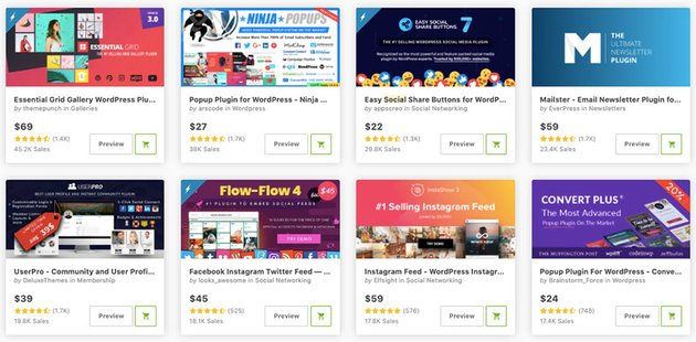 Best-selling social media plugins on CodeCanyon