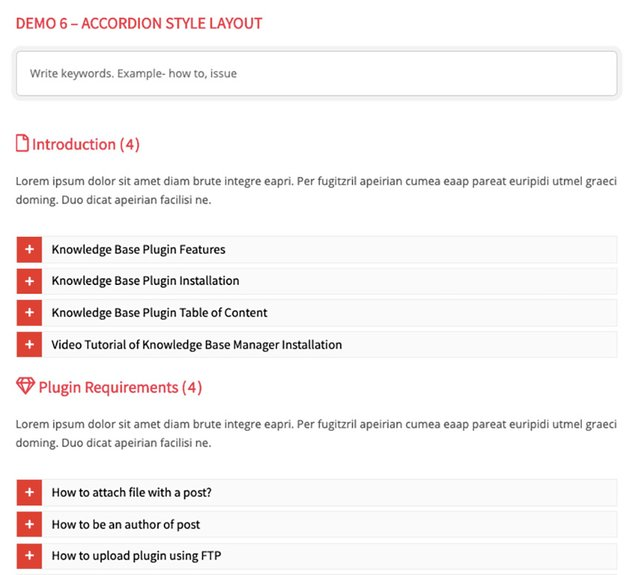 BWL Knowledge Base Manager WordPress Accordion