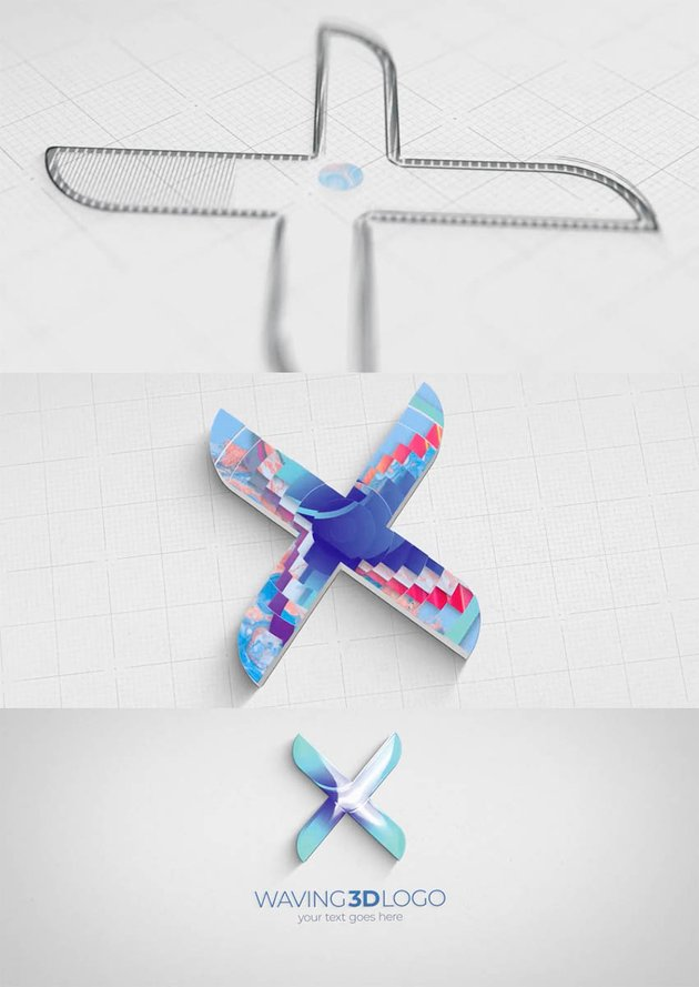 Waving 3D Logo Reveal