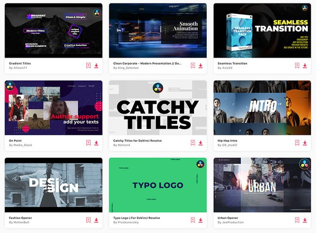 Get unlimited DaVinci Resolve templates from Envato Elements.