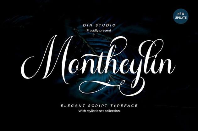 Montheylin Modern Calligraphy Script Font Alphabet Download