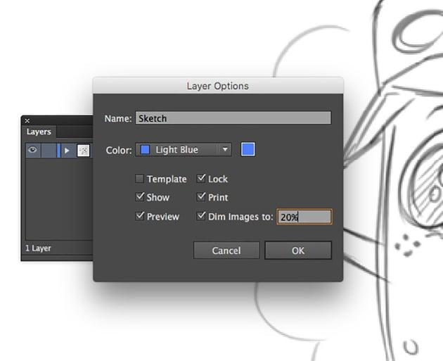 adobe illustrator tutorial beginners sketch layer option panel lock dim images