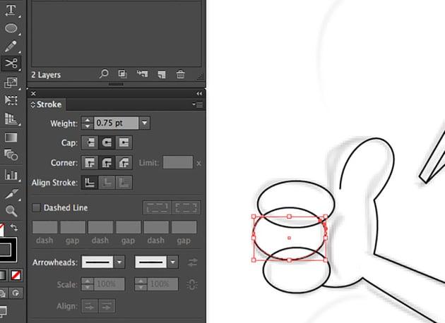 Digital Mascot Design Tutorial adobe Illustrator ellipse tool weight stroke scissor cut