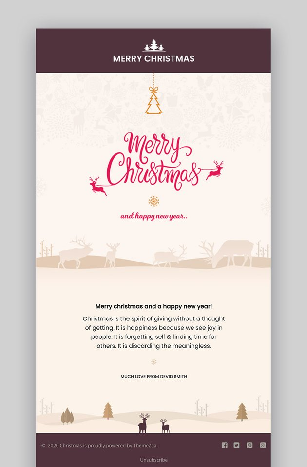 Christmas and New Year Responsive Email Mailchimp Examples