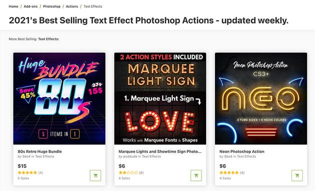 Photoshop Text Effect Actions on Envato Market