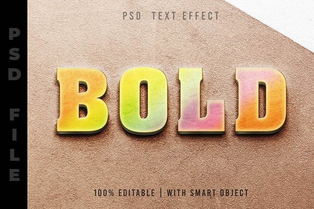 Rainbow 3D Photoshop Text Effect PSD Files
