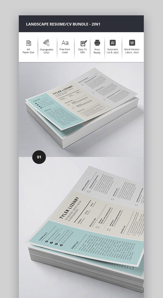 Simple Word Resume and Cover Letter Template With Landscape Layout