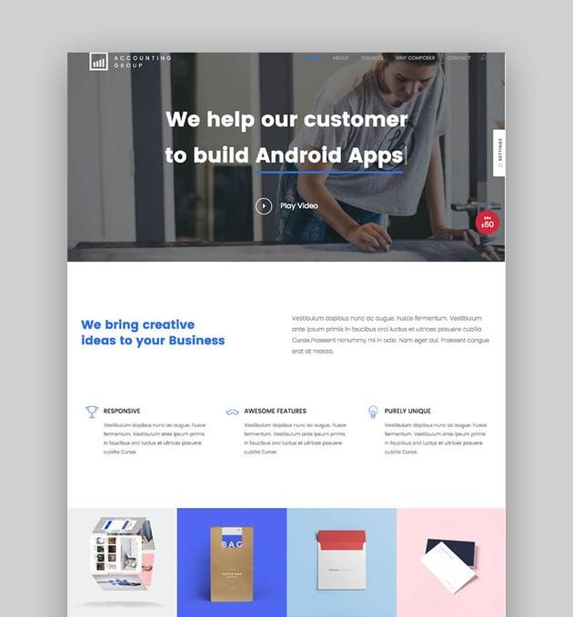 Composer - Sauberes WordPress Theme mit vielseitigem Design