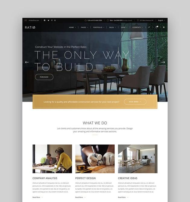 Ratio - Modernes WordPress Theme mit sauberem Webseitendesign