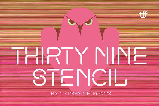 ThirtyNine Futuristic Script Stencil Font
