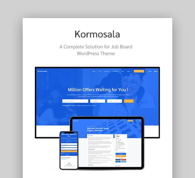 Kormosala job board WordPress theme