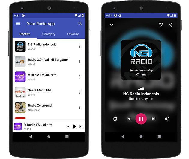 Your Radio App Materia Design Music Player for Android