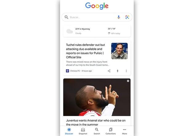 Android Studio Bottom Navigation Bar Tutorial Screenshot of Google Discover App With Android Bottom Bar