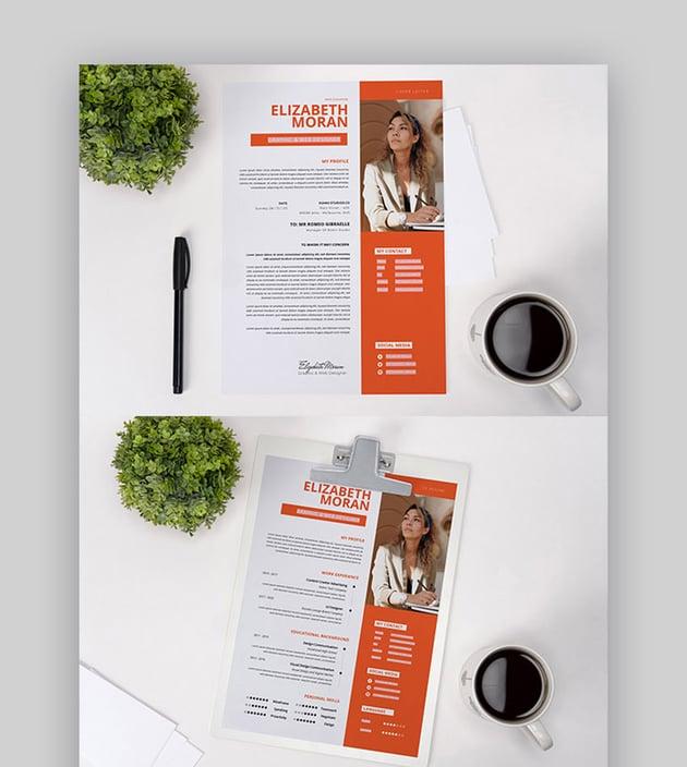 Orange Clean Curriculum Vitae Photoshop Template PSD