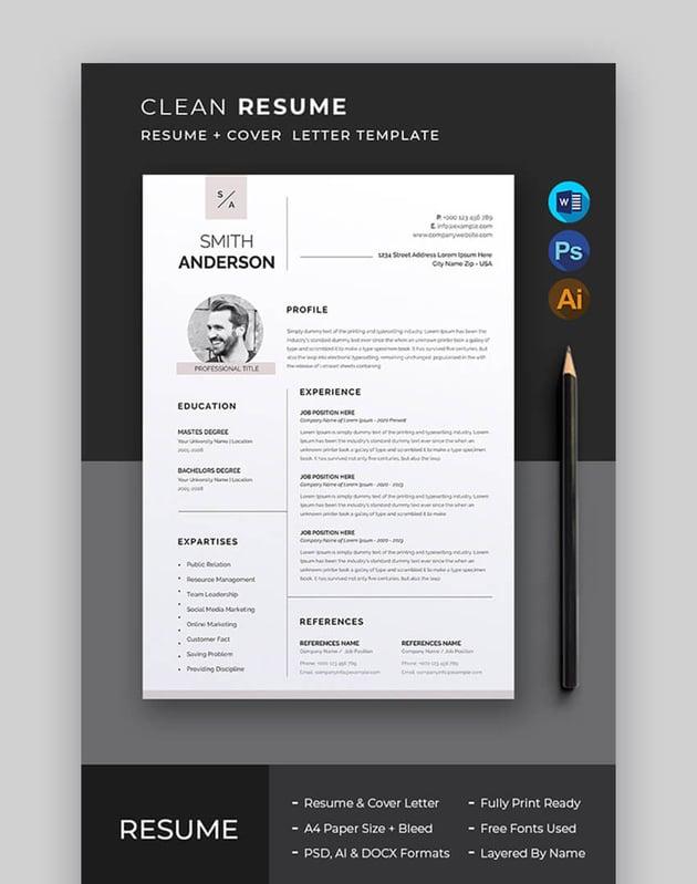 CV Resume Template Photoshop
