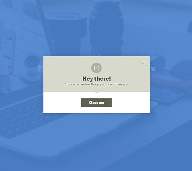 Slick Modal Pretty Popup Template CSS3 jQuery