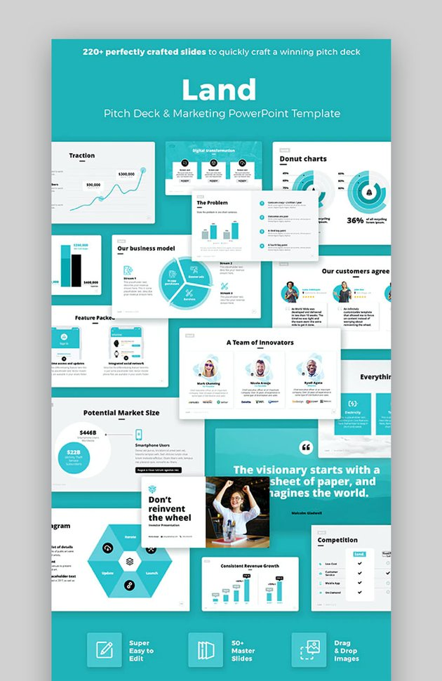 Land Cool PowerPoint Investor Pitch Deck Template