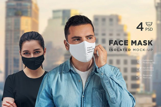 Face Mask Isolated Mock-Up