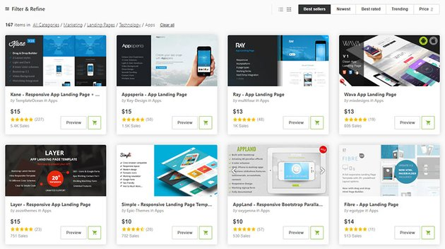 ThemeForest best app landing pages 2021