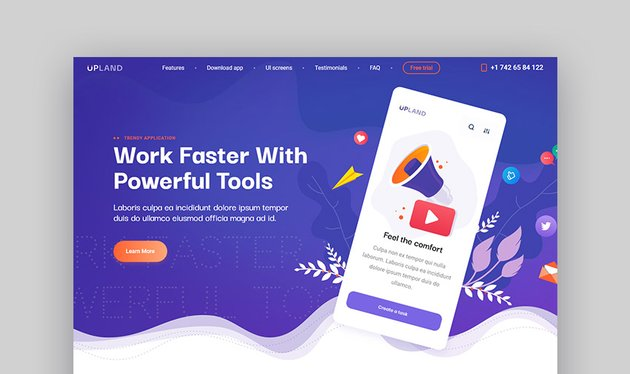 Upland Mobile Landing Page Template