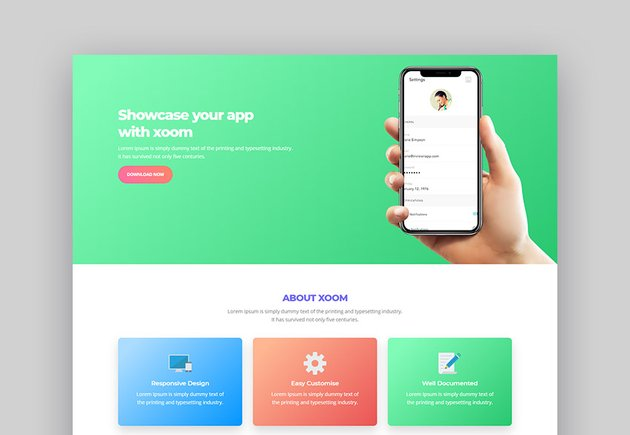 XOOM App Landing Page Template