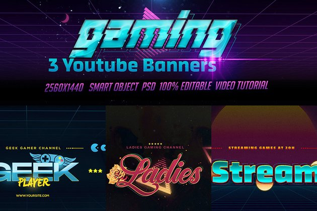 YouTube Gaming Banner Template Download Bundle