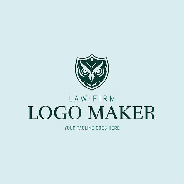 Law Logo Design With Wise Owl