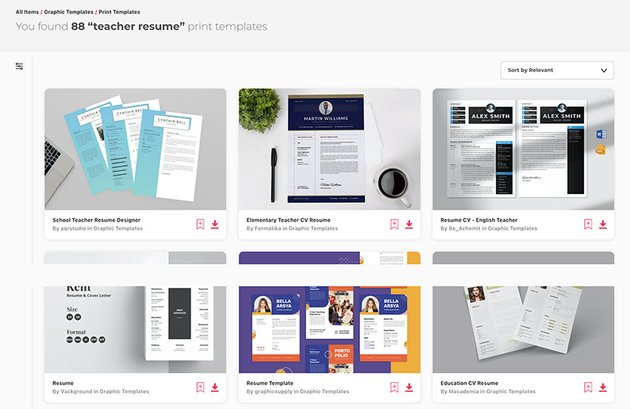 Teacher Resume Examples from Envato Elements