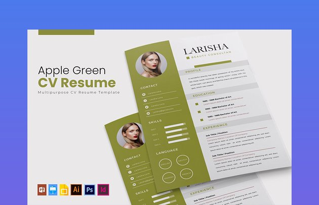 Apple Green CV Template Pages