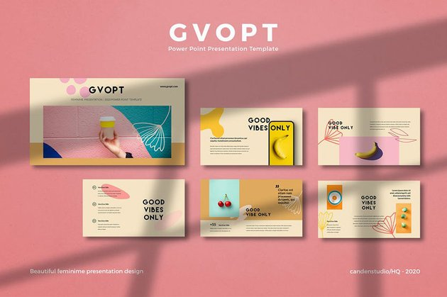 Vibrant Colors HQ GVO Product Catalogue Template PPT