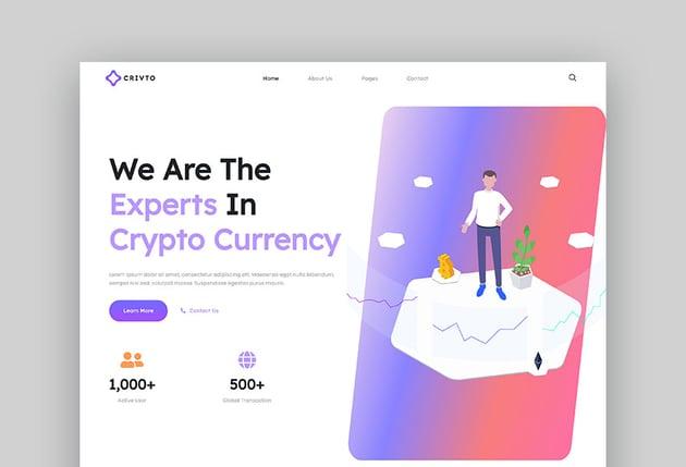 Crivto - Conjunto de plantillas para web de Bitcoin y criptomonedas con Elementor