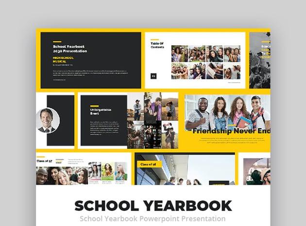 School Yearbook PowerPoint photo album template