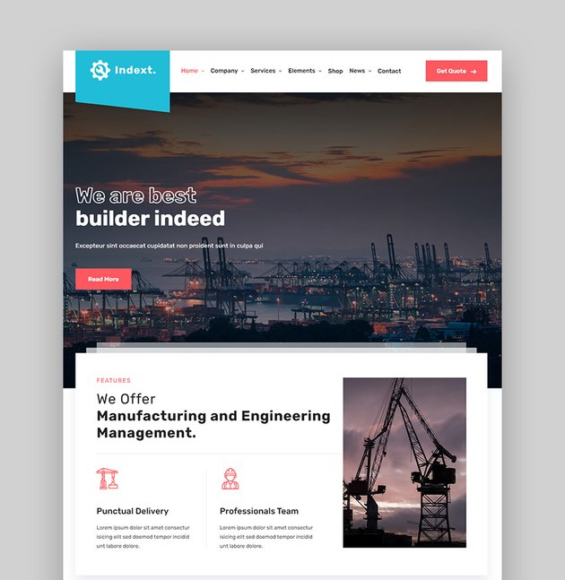 Index Factory and Industry WordPress Theme